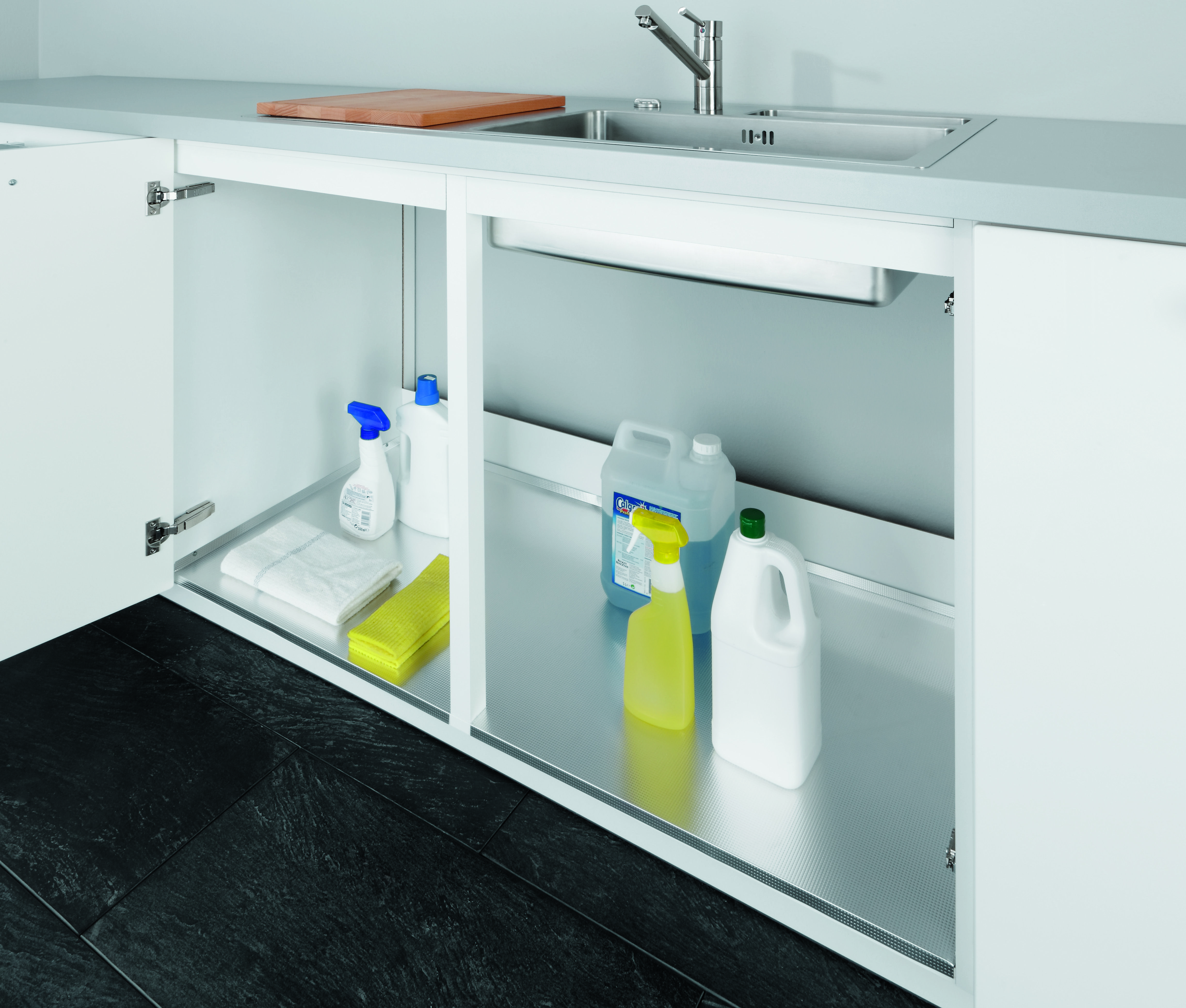 New Alno offer this clever yet simple aluminium sink base liner to catch any drips or leaks