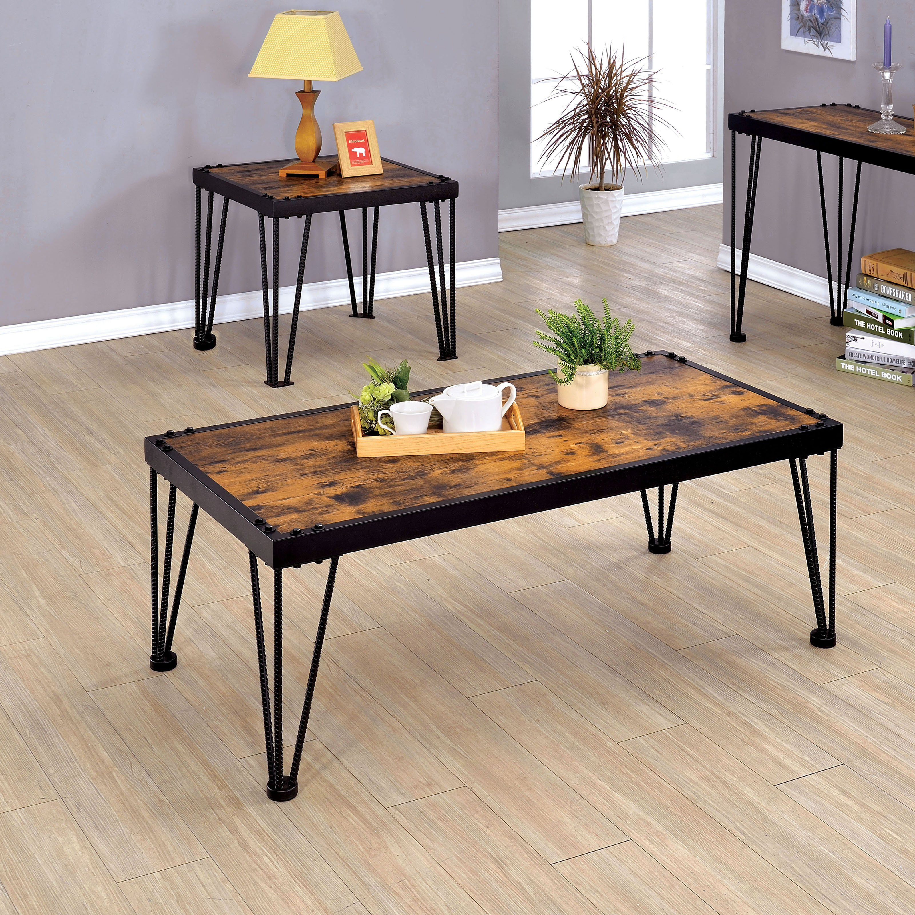 Furniture of America Marx Barred Leg 2 Piece Coffee Table Set