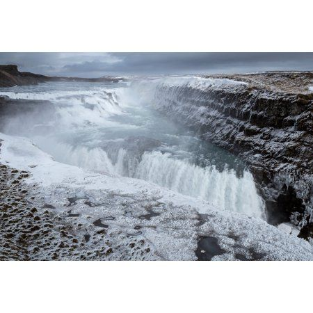 Gullfoss Waterfall (Golden Falls) Iceland Canvas Art - Panoramic Images (36 x 12)