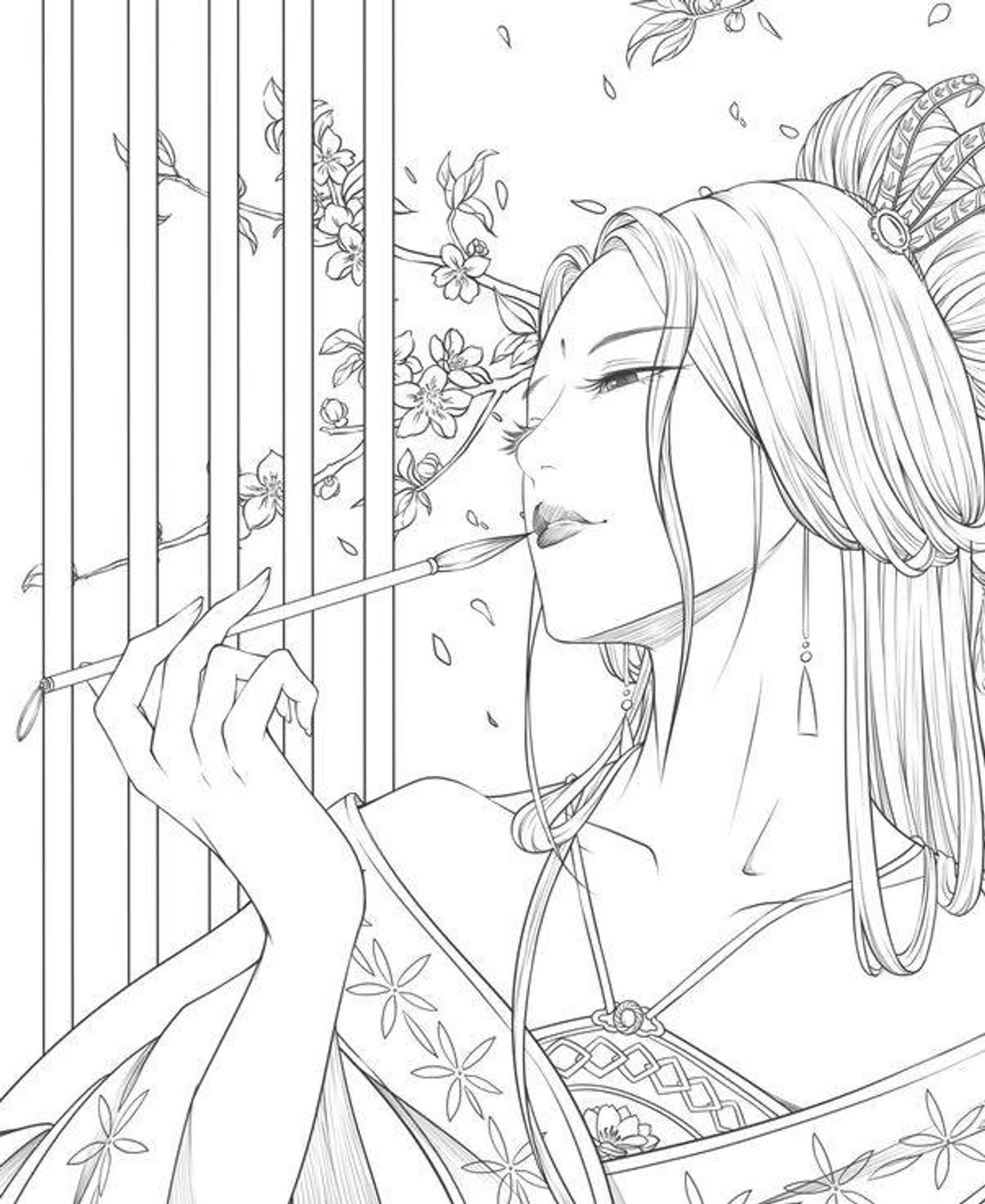 Beauty Drunken Flower Vol 1 Chinese Coloring Book Geisha Tatoeages Kleuren Kleurplaten