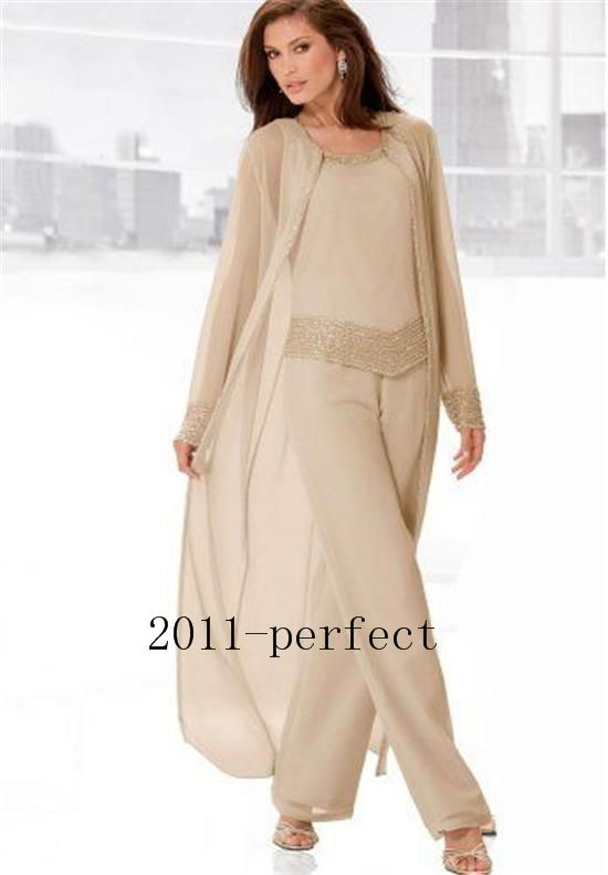 Mother of the Bride Dress pant Suit 3 Piece Summer Long Sleeves ...