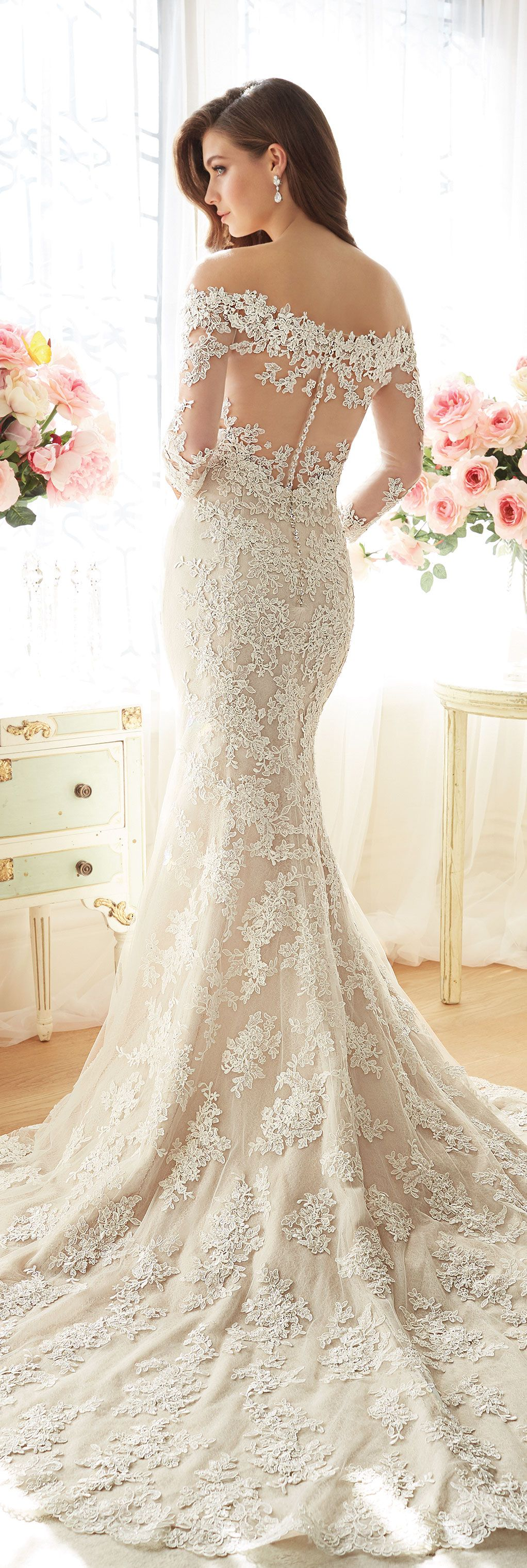 Off the shoulder lace tulle trumpet gown sophia tolli for Tulle trumpet wedding dress