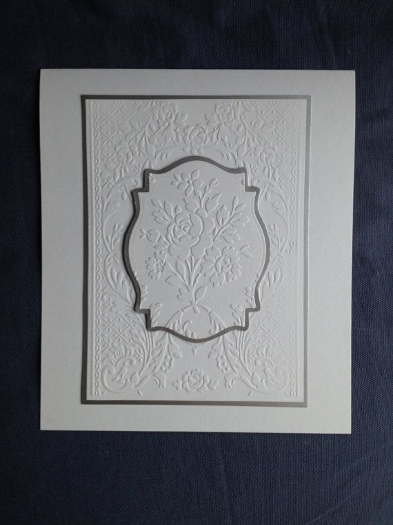 hand crafted card ... White on white card English Roses embossing folder texture ...  blanco blanc by Bermarc on Etsy