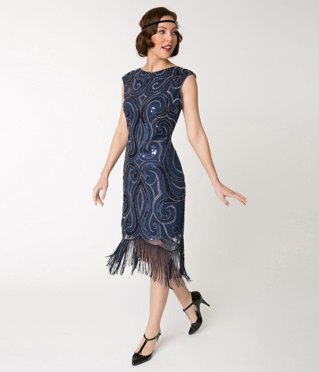 1920s Navy Blue Silver Swirl Iris Fringe Flapper Dress At Vintagedancer Com Great Gatsby Prom Dresses Flapper Dress Fringe Flapper Dress [ 1275 x 1095 Pixel ]