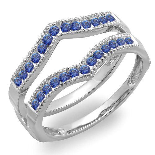 0 45 Carat Ctw 10k White Gold Round Blue Sapphire Millgrain Wedding Guard Double Band 1 2 Ct Anniversary Wedding Band Wedding Anniversary Rings Wedding Bands