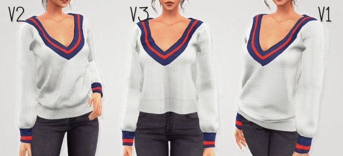 02902500f06 The Sims 4 Elliesimple Tricolor Sweater Sims 4 mods t