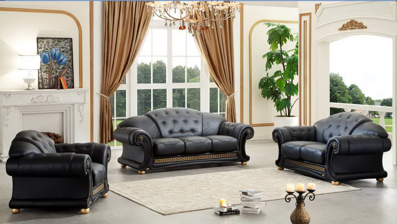 Versace Italian Leather Classic Sofa Set Living Room Sofa Set
