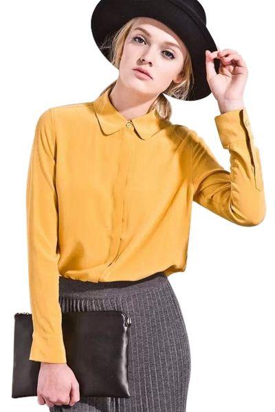Longline Solid Chiffon Button Down Shirt  FREE SHIPPING 2015 Valentine Sale