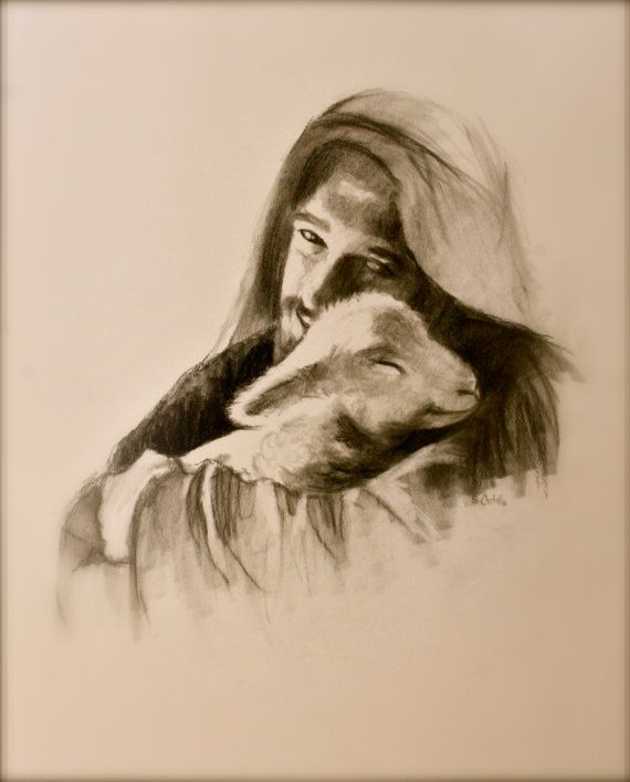 Jesus and the lamb..Young Jesus poster//print 16x20 inch