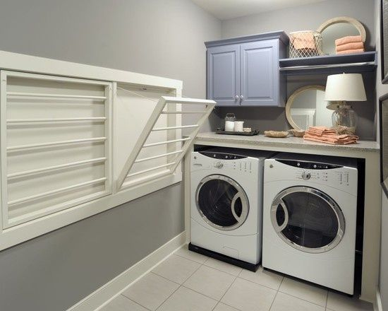Drying Rack Recessed And Built Into The The Wall Laundry Room