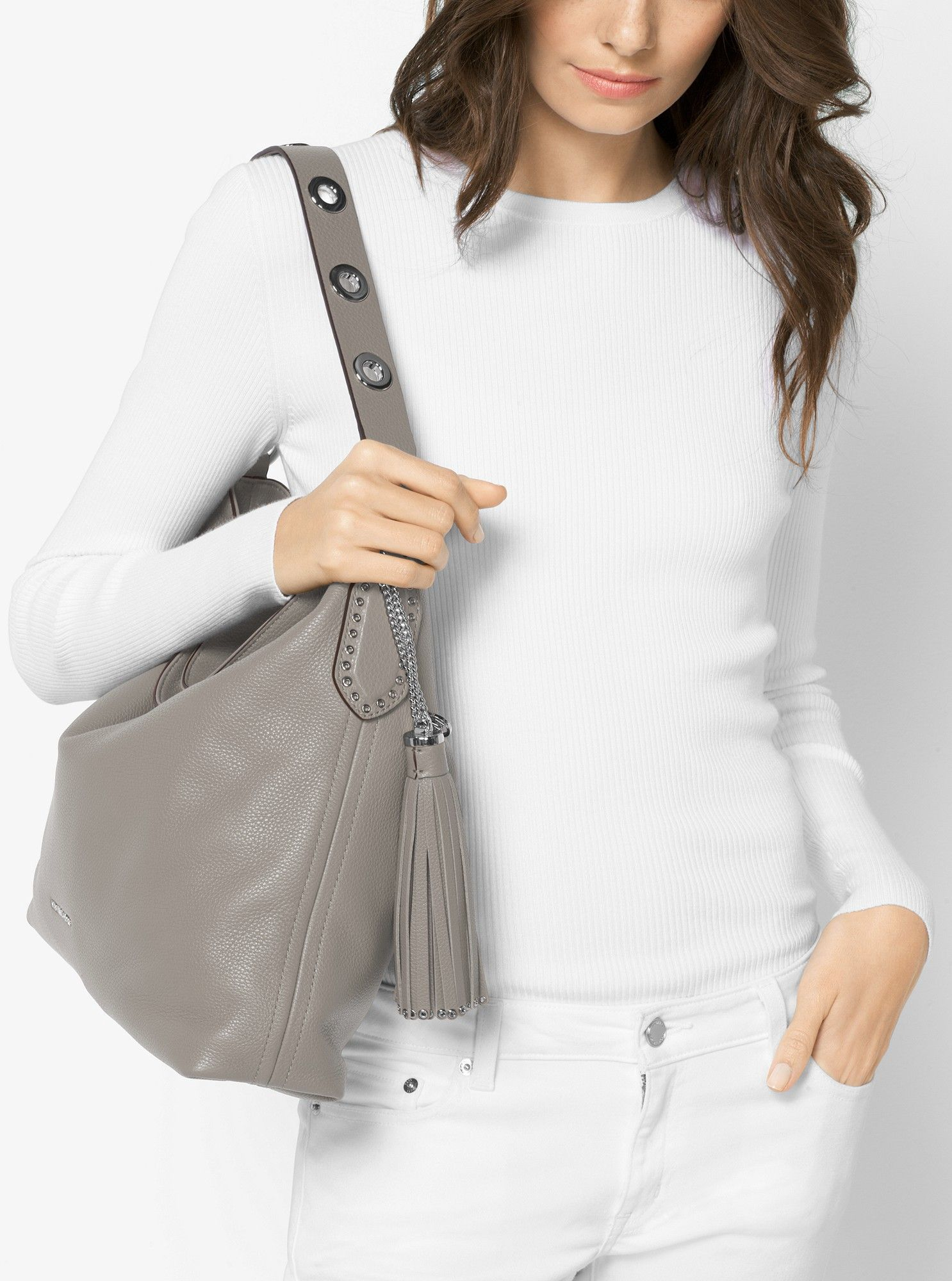 b0584dcdf241 Michael Kors Brooklyn Large Leather Shoulder Bag - Pearl Grey in ...