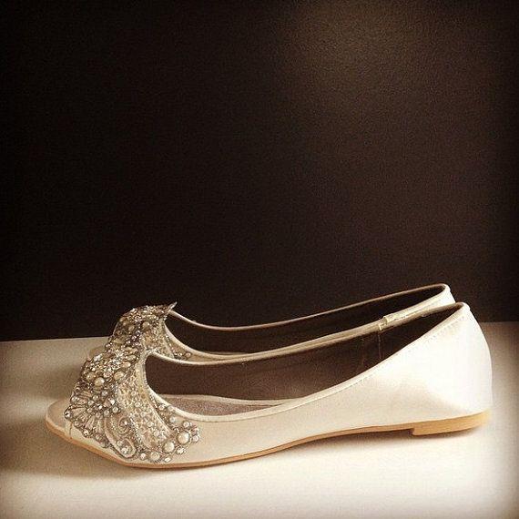 950fa6d12b55 Gatsby Peep Toe Ballet Flat Wedding shoes by BeholdenBridal ...