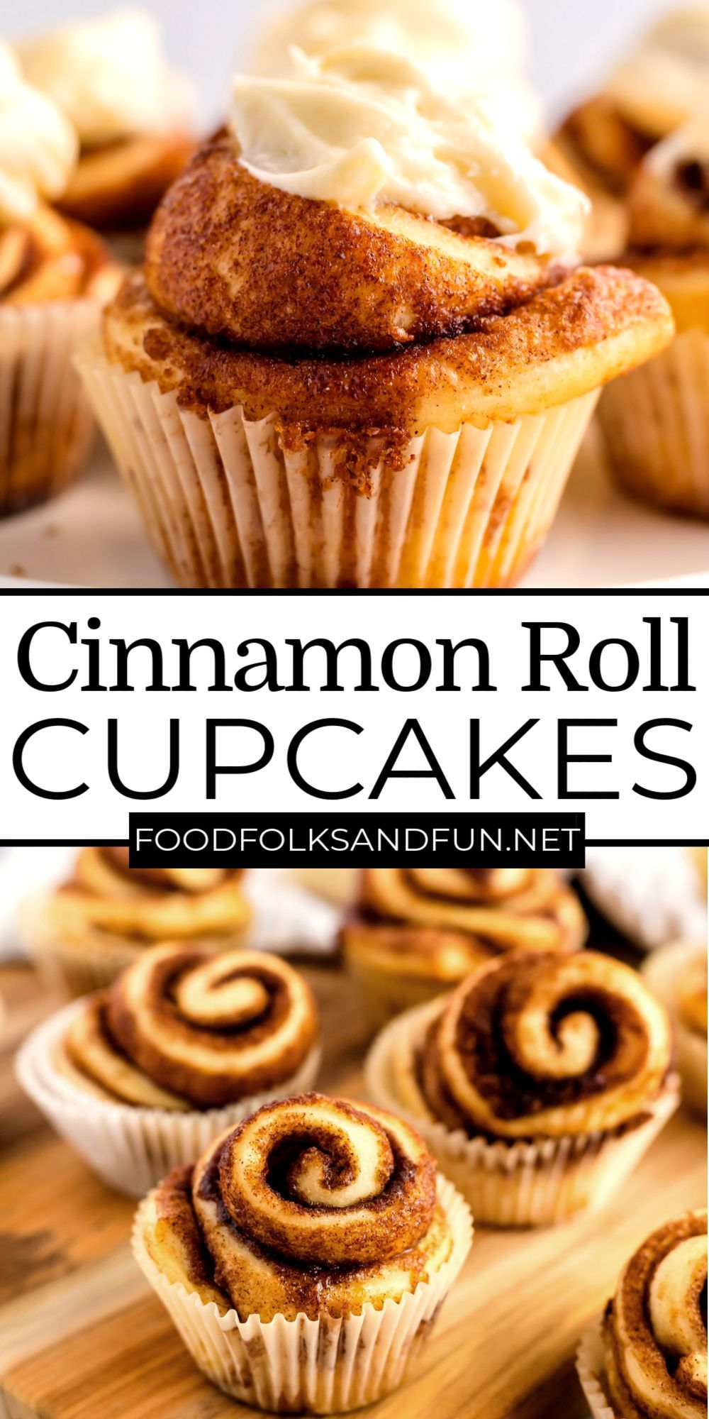 These Cinnamon Roll Cupcakes are perfect for breakfast, brunch, or even for birthday breakfasts! For more easy breakfast ideas follow Food Folks and Fun!