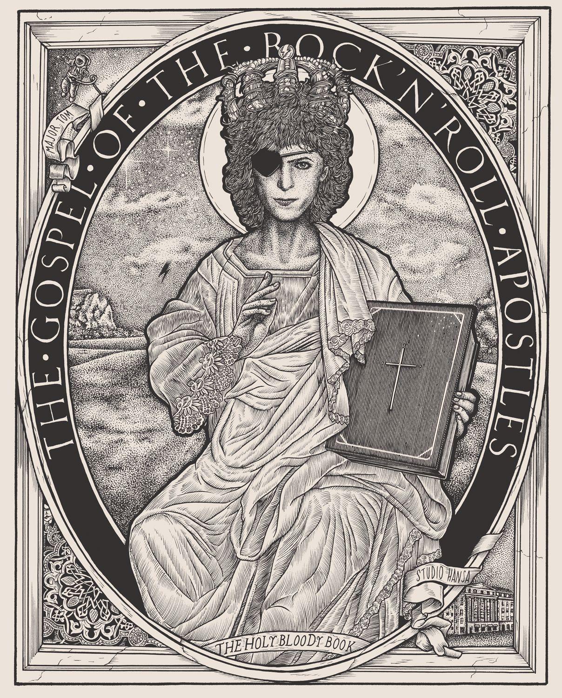 Part of the Holybloodybook.com Project - in progress... St David Bowie.  Creative: Gille Fanuchi illustrators: Fortifem  #david #bowie #ziggy #stardust #studio #hansa #majortom #bible #rock #saint #apostle