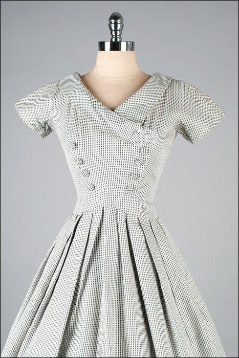 Vintage 1950s Dress . Black White Checked . by millstreetvintage