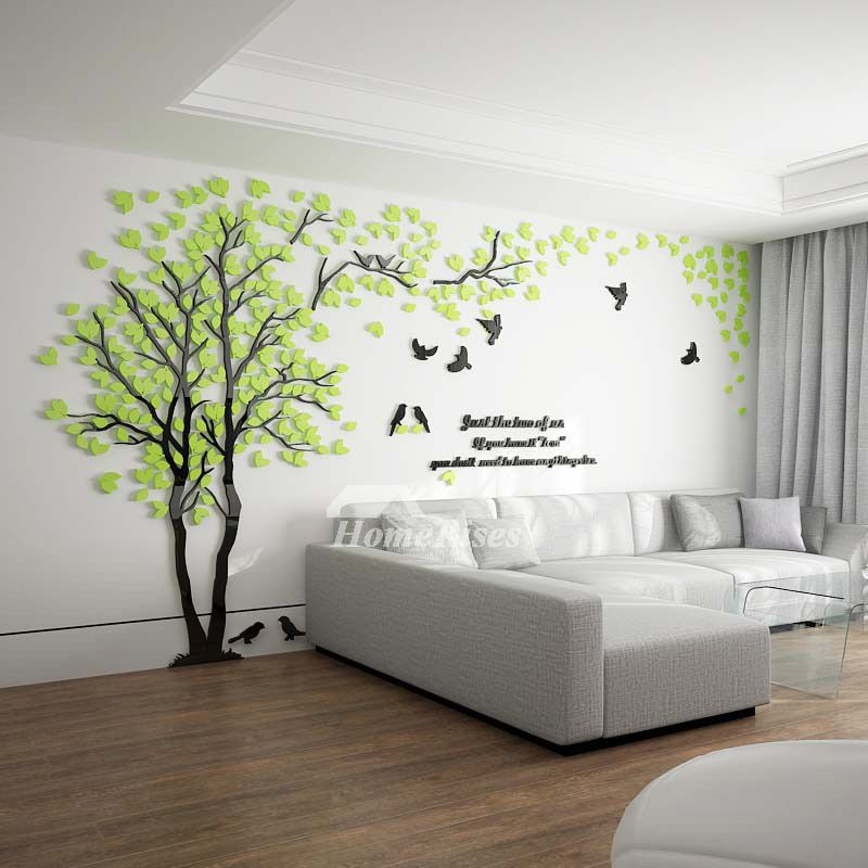 Tree Wall Decal 3d Living Room Green Yellow Acrylic Best Decorative In 2020 Wall Decals Living Room Green Wall Decor Wall Stickers Living Room #wall #decal #ideas #for #living #room