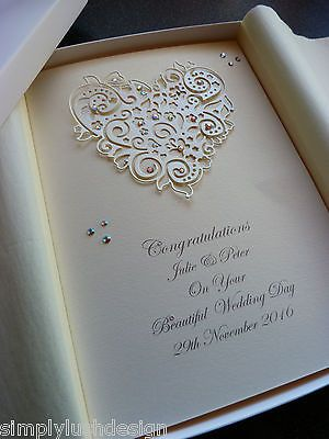 #Handmade personalised #luxury #wedding day card boxed,  View more on the LINK: 	http://www.zeppy.io/product/gb/2/281932094613/