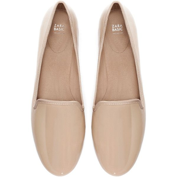 Zara Basic Slip-On Shoes (£9.02) ❤ liked on Polyvore featuring shoes, flats, zara, mink, short heel shoes, small heel shoes, pull on shoes, flat shoes and slip on flats