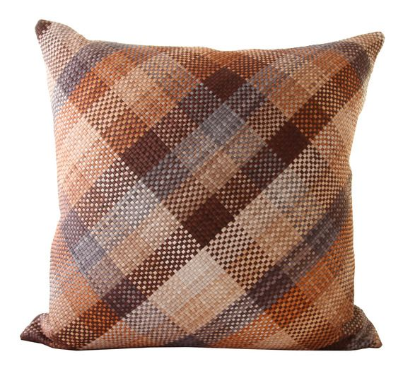 Harlequin Plaid Pillow In Storm In Woven Lather By Lance