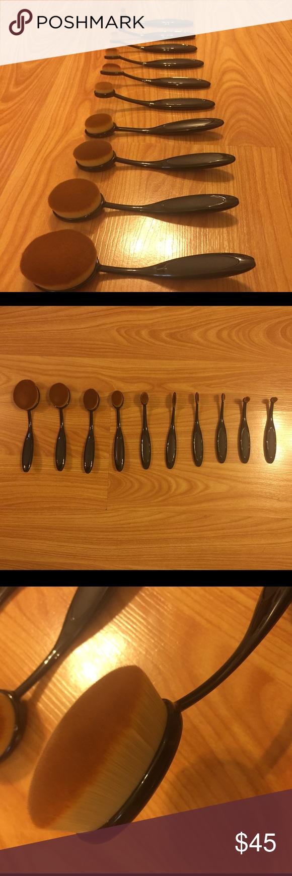 SALE!!! 10 Pc. Oval Makeup Brush Set SET OF 10 OVAL MAKEUP