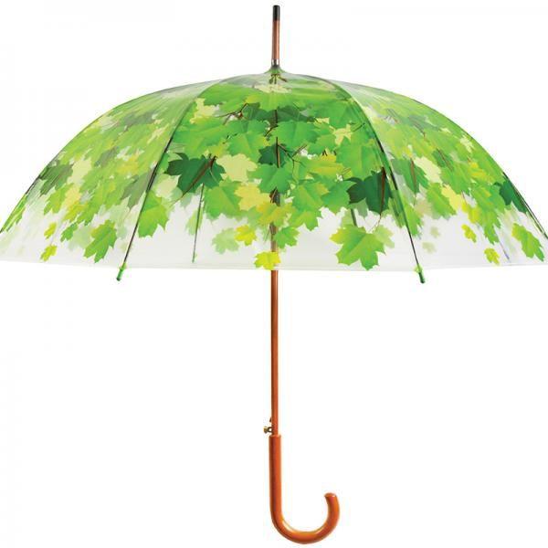Átlátszó műanyagra tervezett levél mintás esernyő. Masszív fa markolattal d2769a1d39