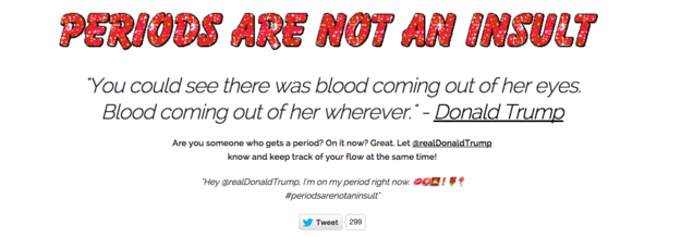"""The """"Periods Are Not An Insult"""" campaign includes a website with templates for tweets — and a glittery GIF: 