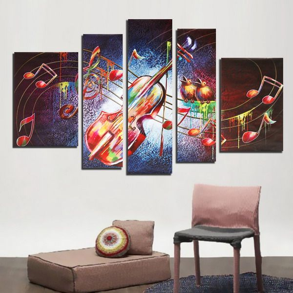 5 piezas de arte de la pared de impresión sin marco música de la ...