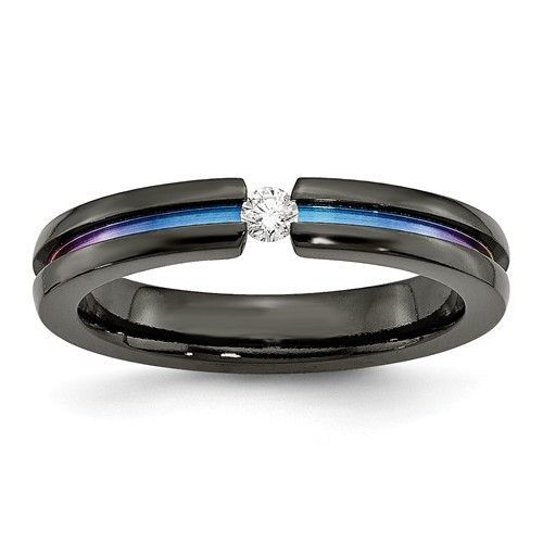 Bridal Wedding Bands Fancy Bands Edward Mirell Titanium Anodized 4mm Band Size 9.5