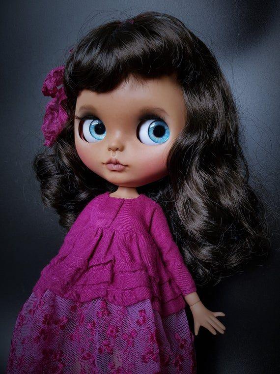 OOAK Blythe doll Monika, custom TBL Blythe, licca body, braun hair Blythe, sweet doll , collector doll,halloween #dollcare