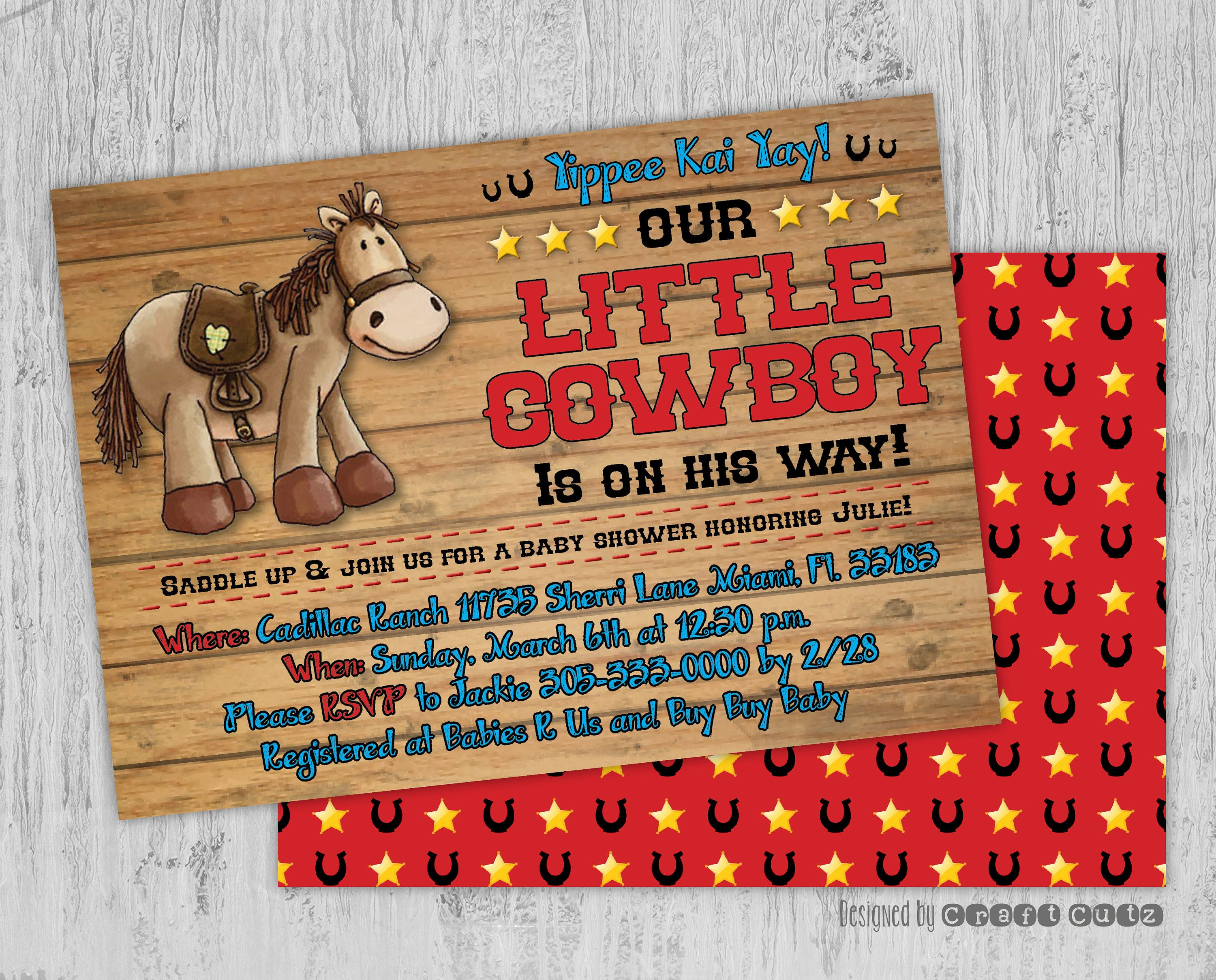 Little Cowboy Baby Shower Invitation - Western Party Invitation ...