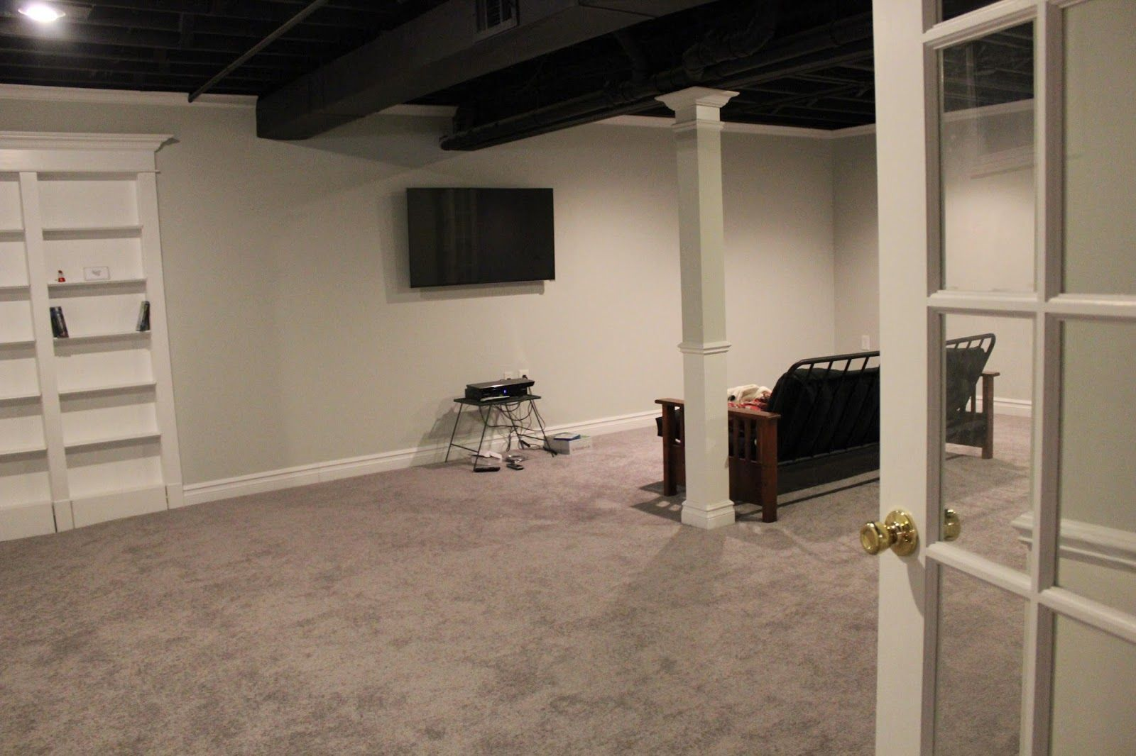 Braysam Lane Basement Remodel With Painted Exposed Ceiling Exposed Basement Ceiling Basement