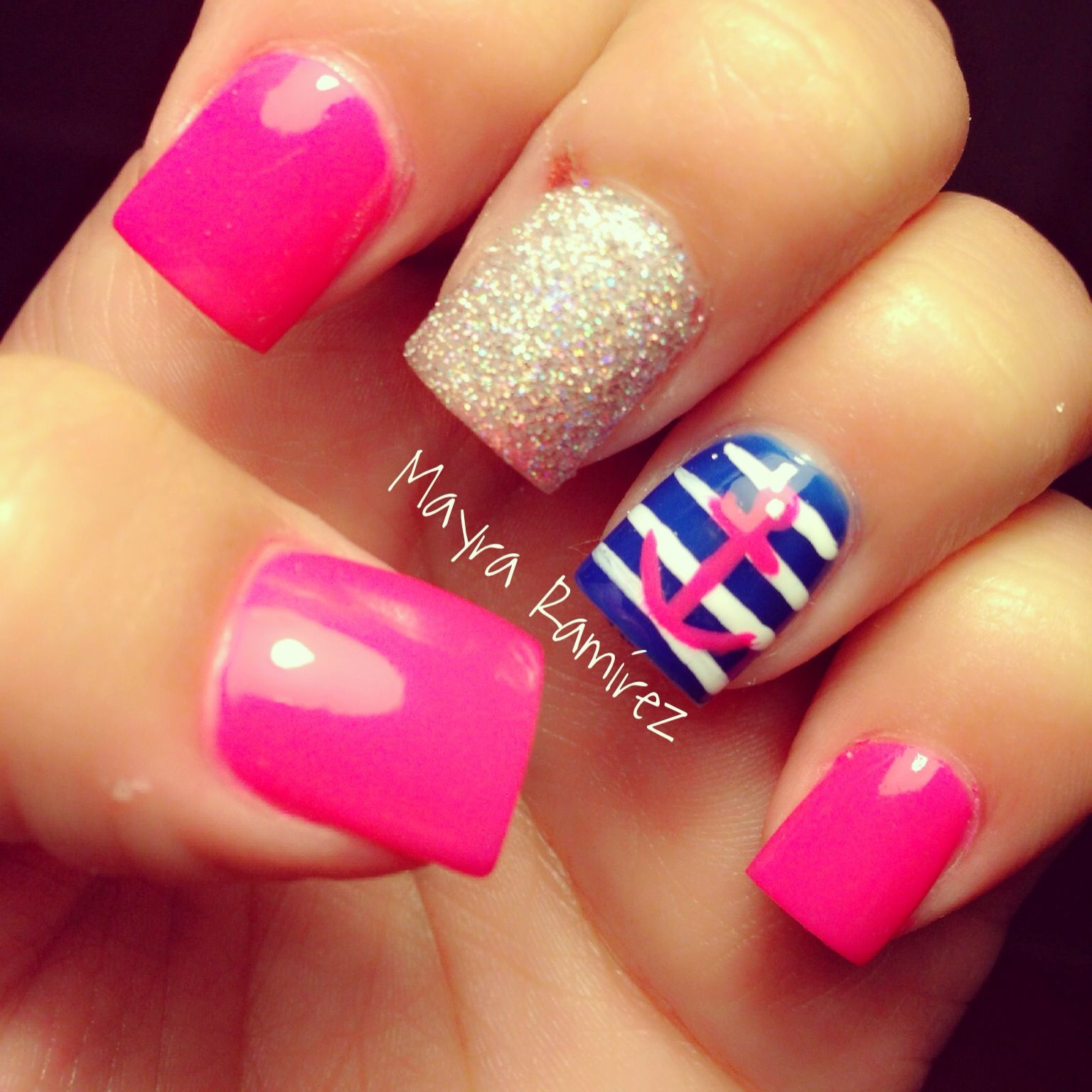 hot pink with navy blue nautica nails my work pink