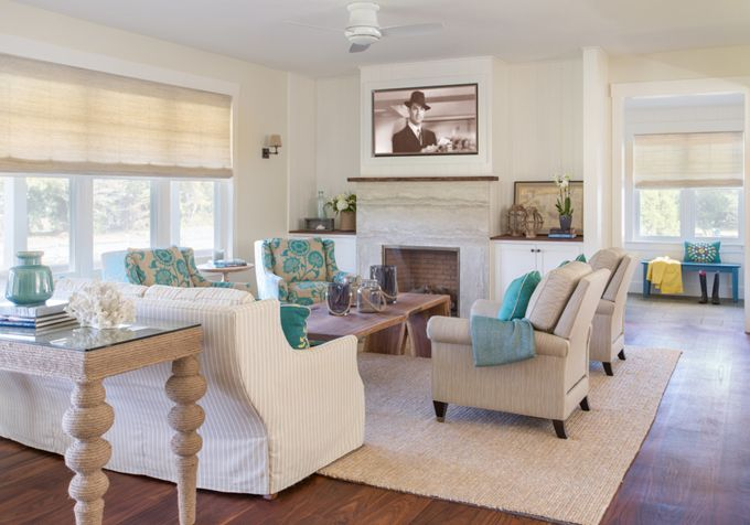 Neutral Living Room With Turquoise Accents Martha 39 S