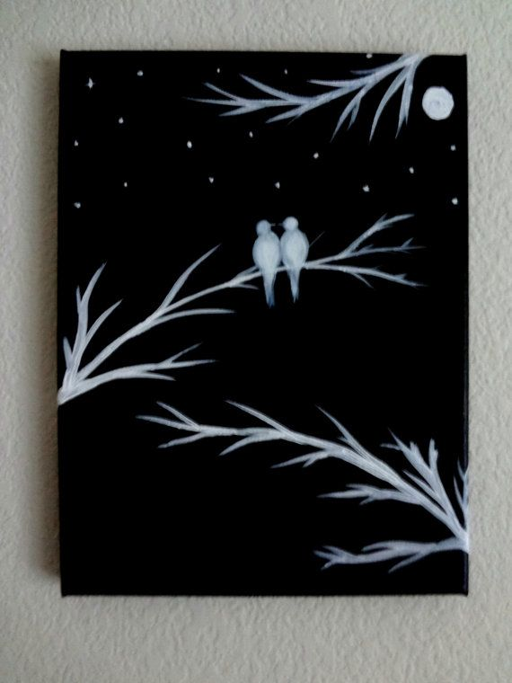 superior Painting On Black Canvas Part - 7: Black and white Acrylic painting canvas art Love birds silhouette Canvas  painting Wall decor I love you to the moon and back Birds on tree