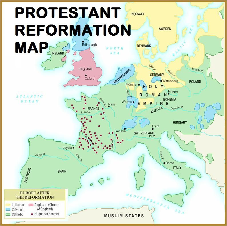 Protestant reformation map and chart map activities protestant protestant reformation map activity gumiabroncs Image collections
