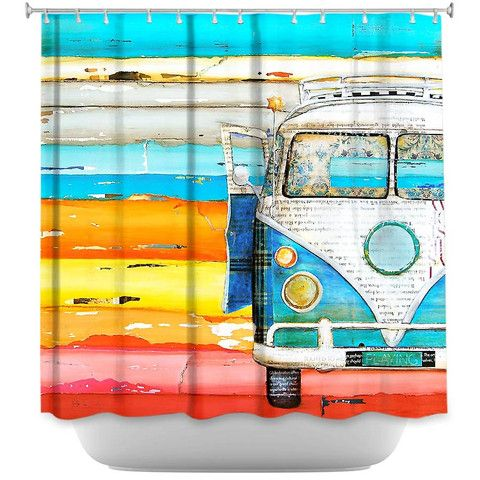 Playing Hooky By Danny Phillips Fabric Shower Curtain Volkswagen Showercurtainhq Vw Bathroom