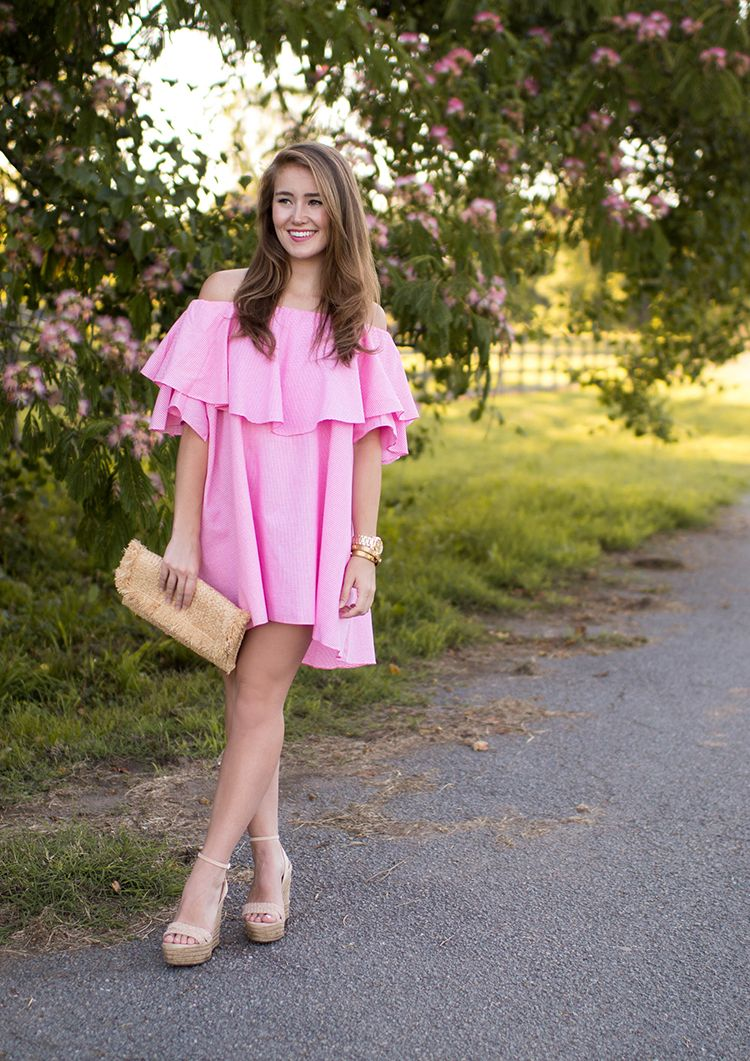 pink gingham mlm maison off the shoulder dress | summer outfits