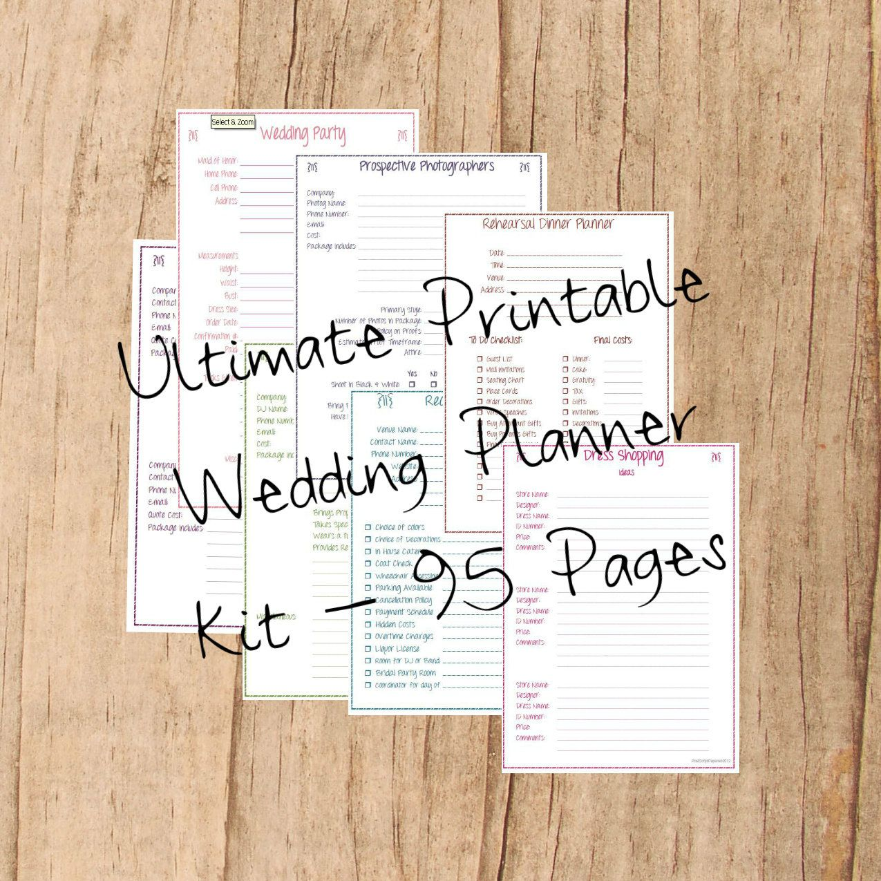 Printable Wedding Planner Instant Download Ultimate Wedding Planner Kit