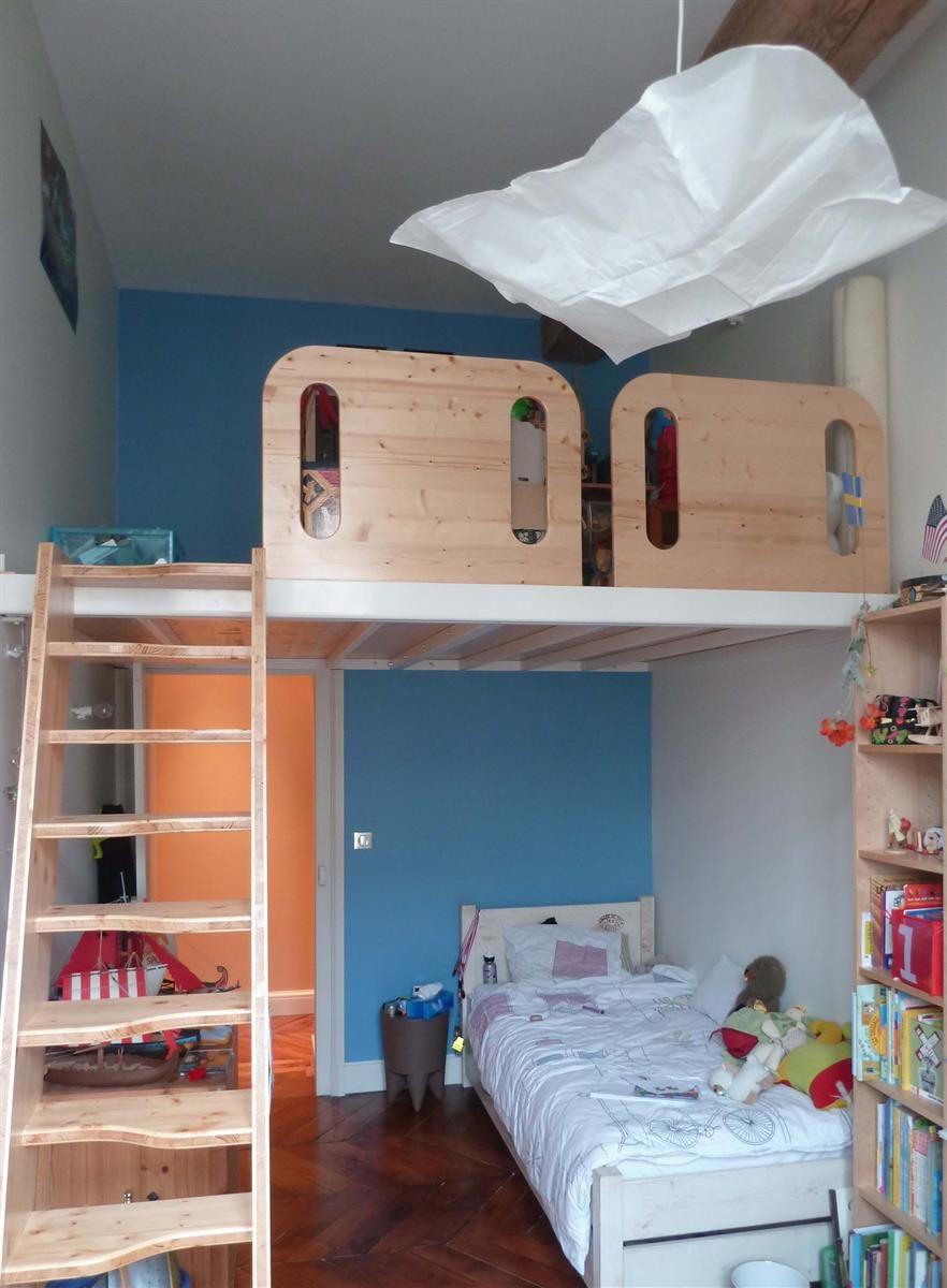 chambre d 39 enfant avec mezzanine chambres enfants pinterest mezzanine chambres et enfants. Black Bedroom Furniture Sets. Home Design Ideas