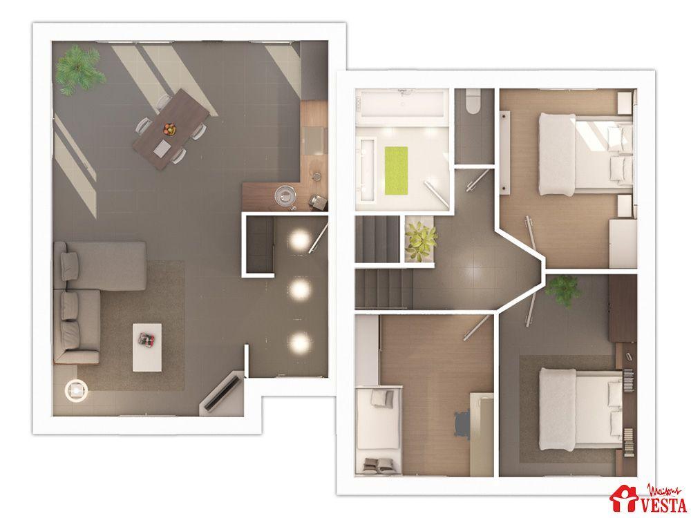 Modele Demi Niveau Avec Un Monopan Type F5 Disposant D Un Tres Grand Potentiel De Personnalisation Du Plan Inte Maison Plan Maison 90m2 Maison D Architecture