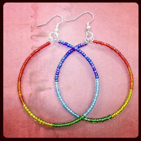 Photo of Items similar to Chakra Earrings- Large Hoops- Rainbow, Hippie- Color Therapy Jewelry on Etsy