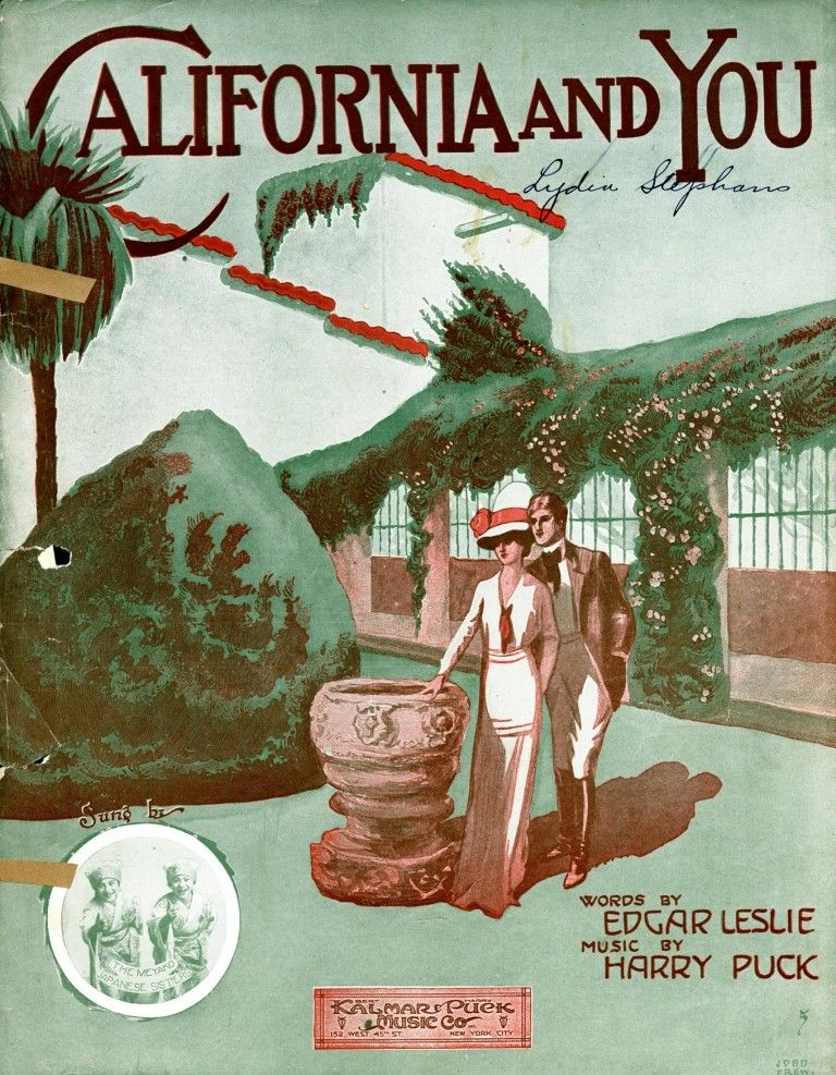 California and You - vintage sheet music Illustrations in 2018