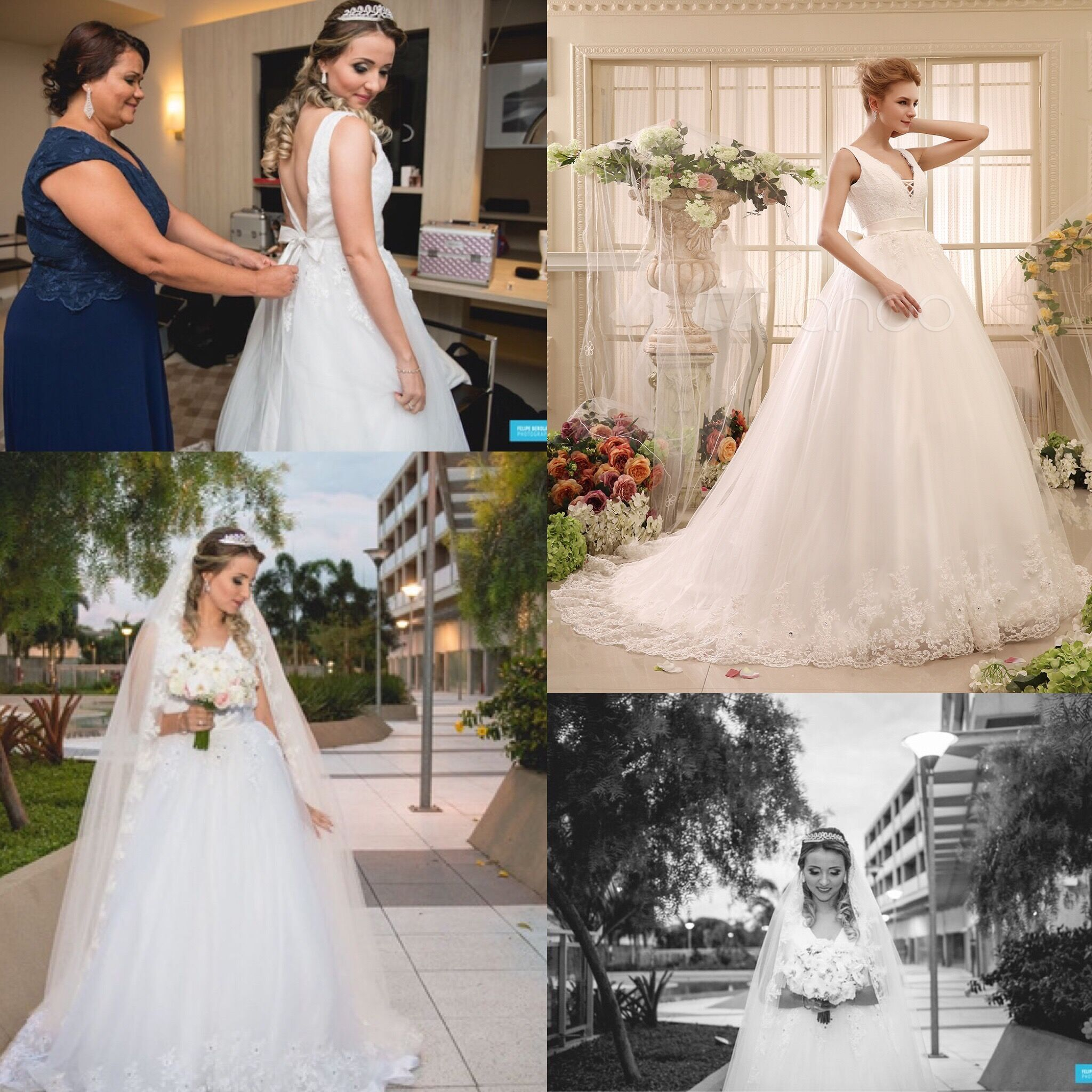 Bow Chapel Train Ivory Ball Gown Bridal Wedding Gown With V Neck