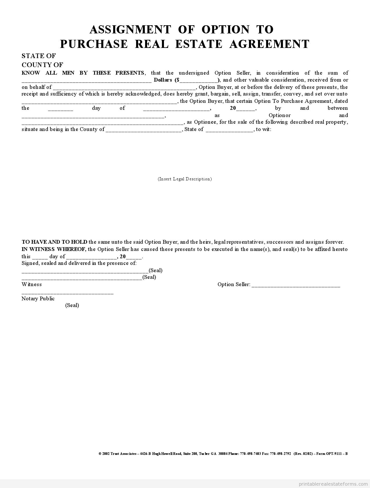 Home Purchase Agreement Form Free Sample Printable Assignment Of Option Agreement Form  Printable .