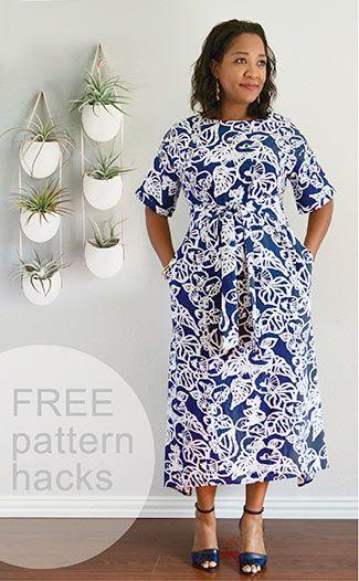 FREE pattern hacks for the Tie Belt Dress | Tie belts, Free pattern ...