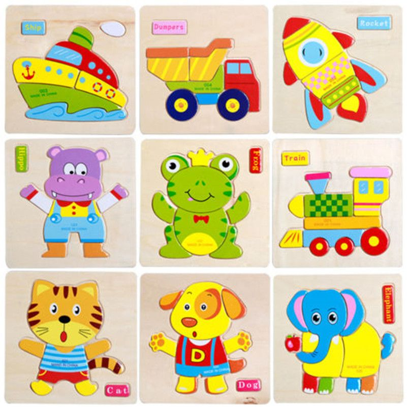Kids Baby Fun Toy 3D Jigsaw Puzzle Cartoon Animal Wooden Educational Toys D