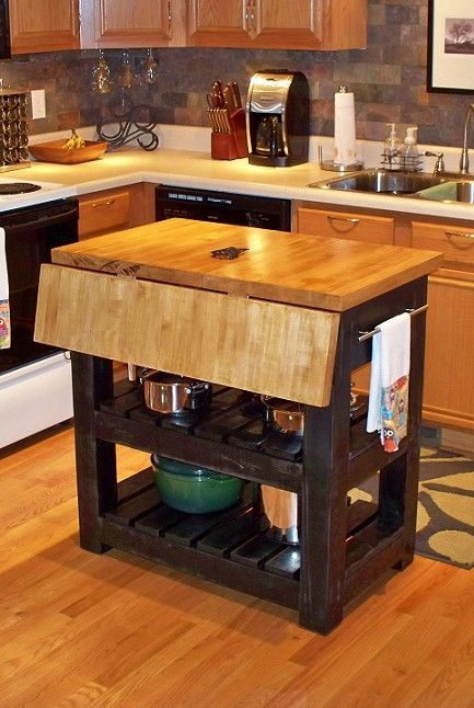 Gorgeous Drop Leaf Butcher Block Kitchen Island Design
