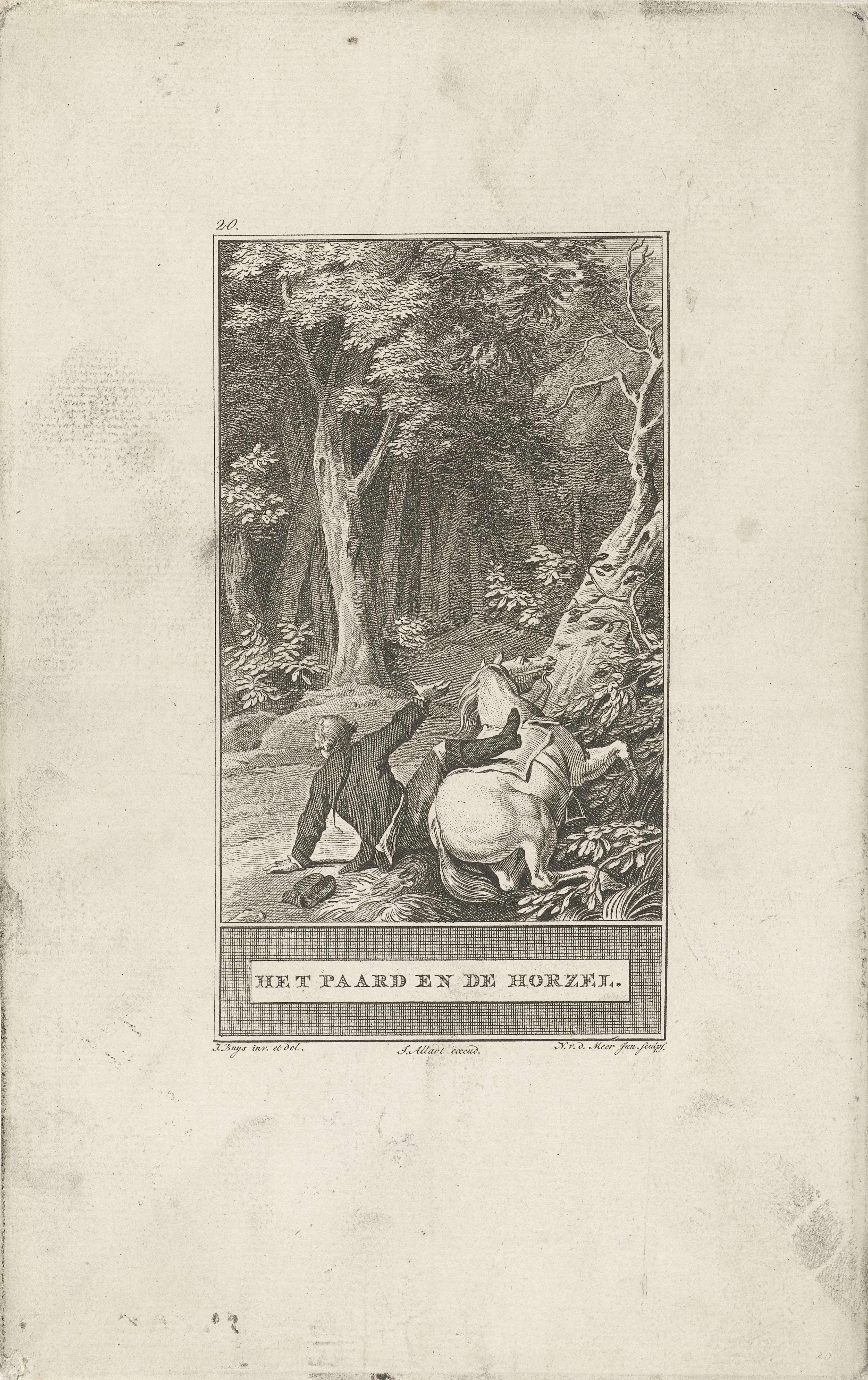 Noach van der Meer (II) | Paard en horzel, Noach van der Meer (II), Johannes Allart, 1777 | Een paard zakt door zijn hoeven en werpt zijn berijder af, nadat hij door een horzel in de neus is gestoken.