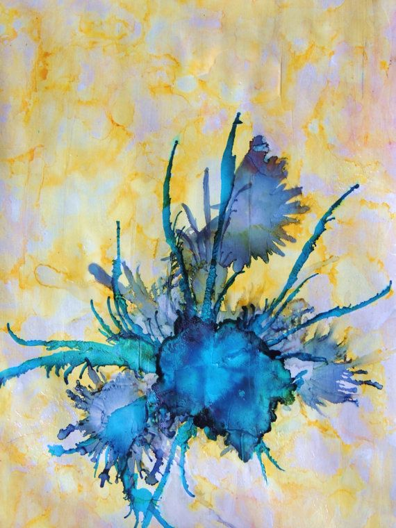 40 Ink Painting Ideas For Inspiration: Yellow And Blue Abstract Painting Alcohol Inks By