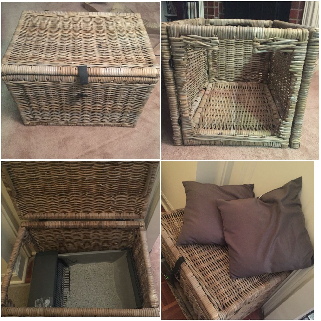 DIY hideaway litter box.. I found this neat idea from another pin ...